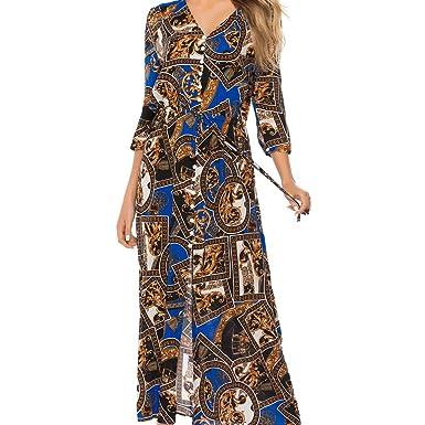 36d2d46eae55 lenglangO 2019 Women's Summer Bohemian Spliced Maxi Dresses for Beach  Holiday (Blue ...