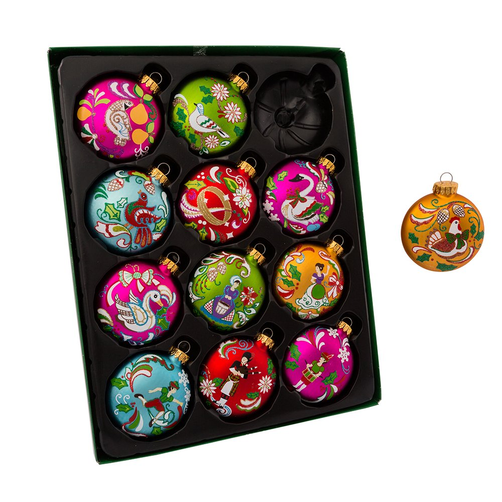 Kurt Adler 65MM 12 Days of Christmas Glass Ornament Set 12 Pieces