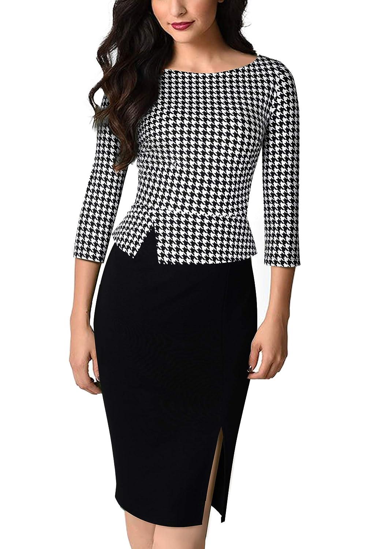 HOMEYEE Womens Elegant Houndstooth Stretch Bodycon Split Office Dress B562