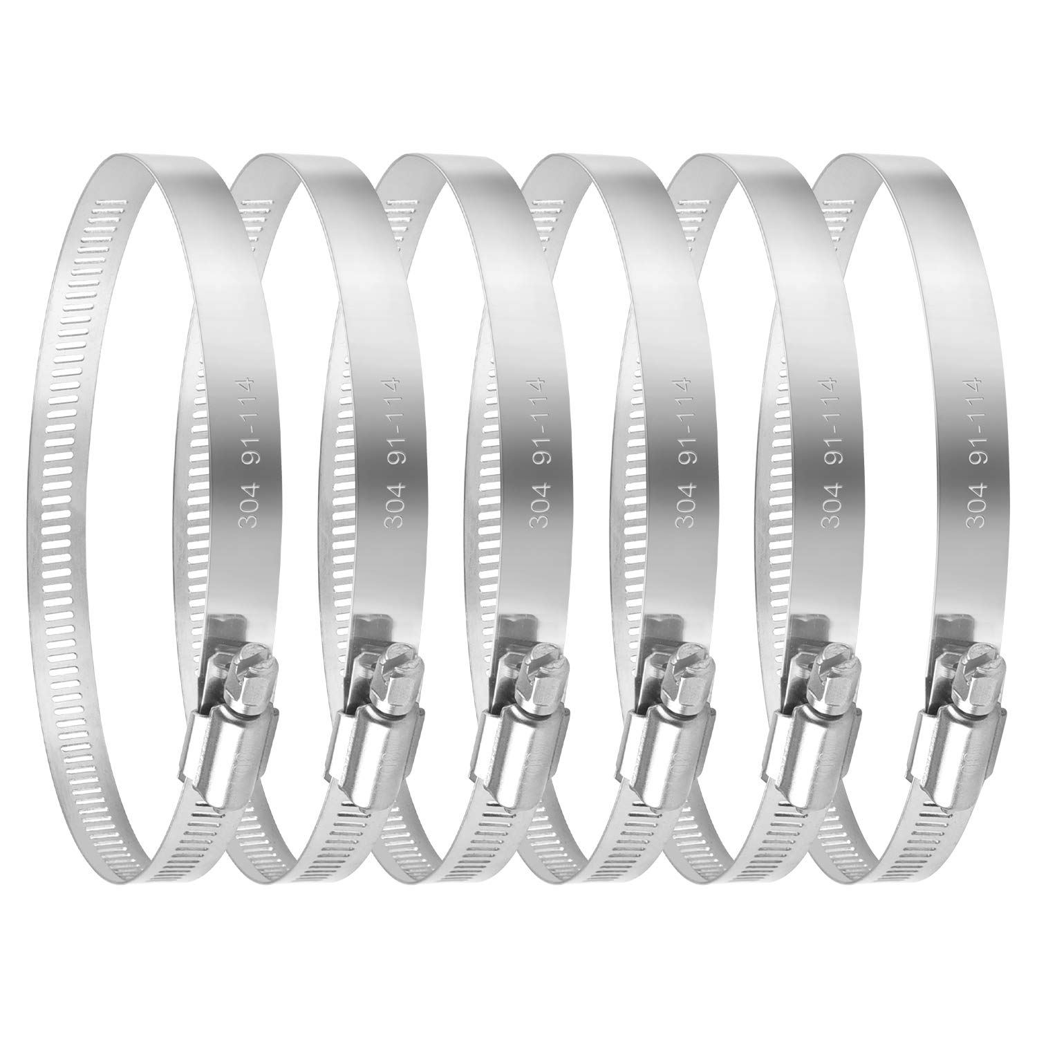 TERRADISE Hose Clamps 4 Pack 4 Pcs Adjustable Dryer Vent Pipe Clamp Worm Gear Clamps for Grow Tents HVAC 4 Inch Stainless Steel Duct Clamps Set of 4
