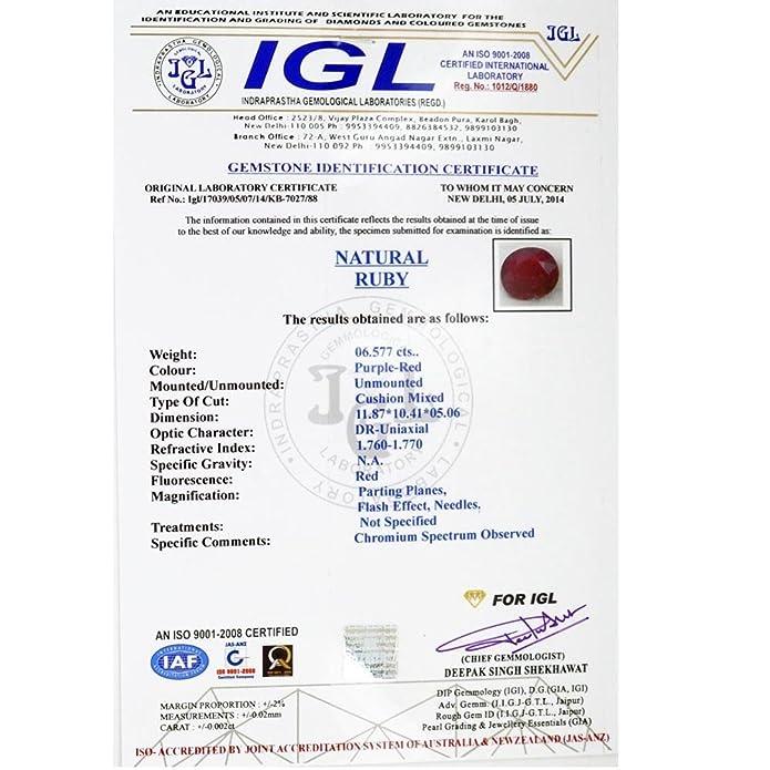 Buy Brishh Jems Sougandhik Manik Stone 725 Ratti Certified Burma