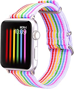 Bandmax Wristband Compatible for Apple Watch 42mm/44MM,Nylon Soft Breathable Replacement Watch Band Sport Strap Accessories Compatible for iwatch Series 5/4/3/2/1(White Bottom with Silver Buckle)