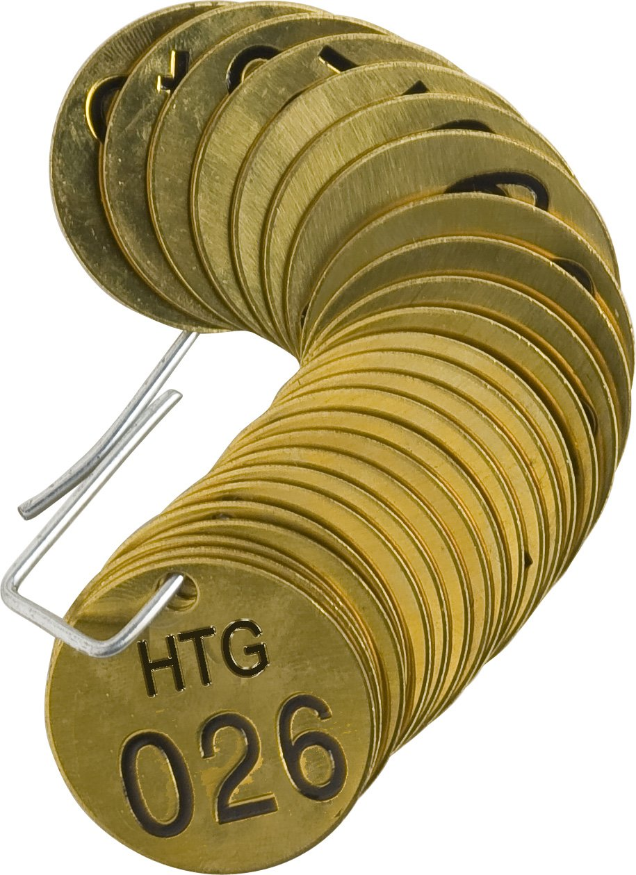 LegendHTG 25 per Package Brady 232691 1//2 Diameter Stamped Brass Valve Tags LegendHTG 25 per Package Numbers 026-050