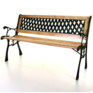 Pleasing Marko Outdoor Wooden 3 Seater Cross Lattice Garden Bench Park Seat With Cast Iron Legs Ncnpc Chair Design For Home Ncnpcorg