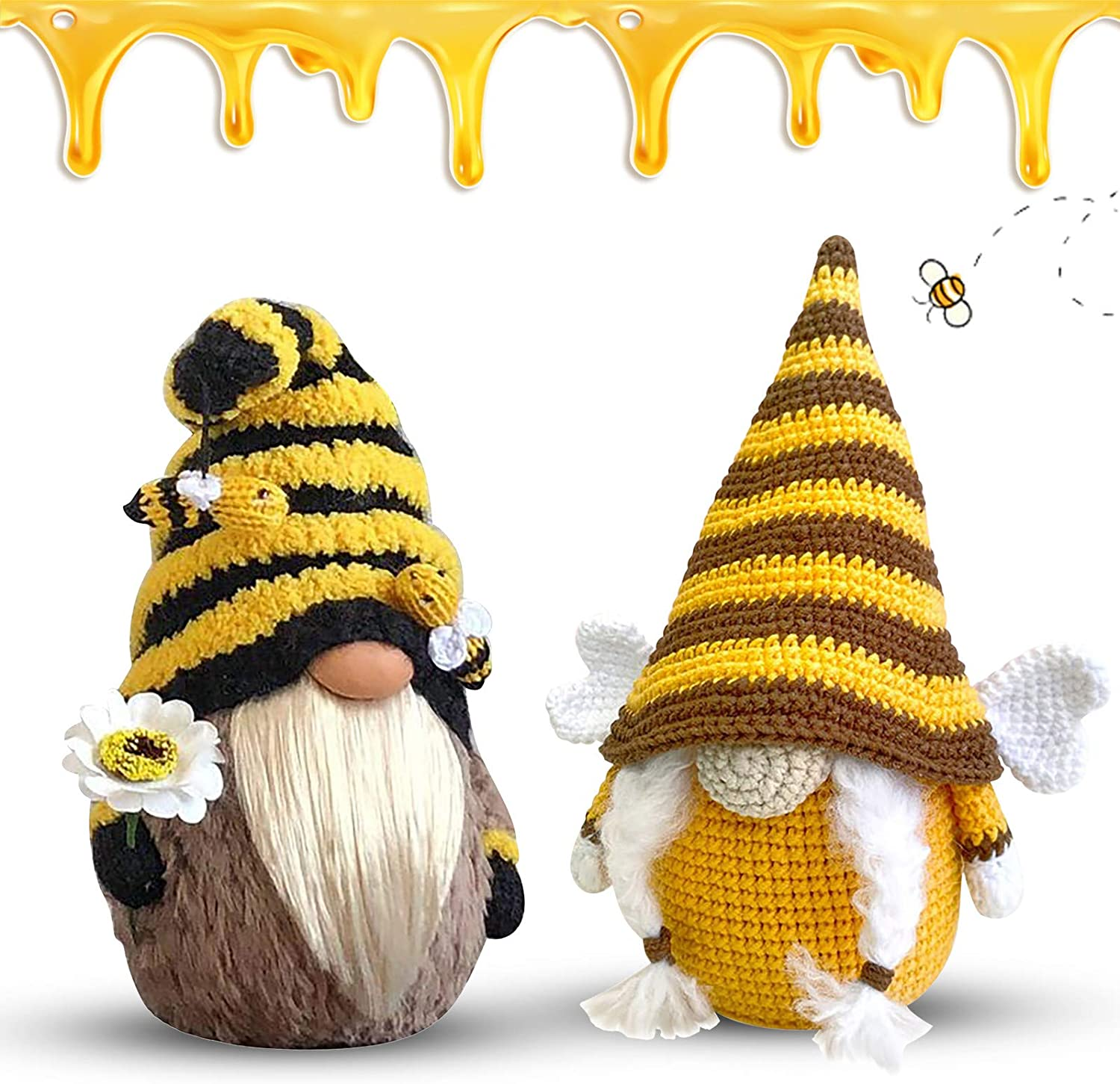 Bee Day Gifts Mr and Mrs Handmade Scandinavian Tomte Faceless Ornaments for Bee Day Home Decoration Blekii 2Pcs Bee Gnomes Plush Decorations