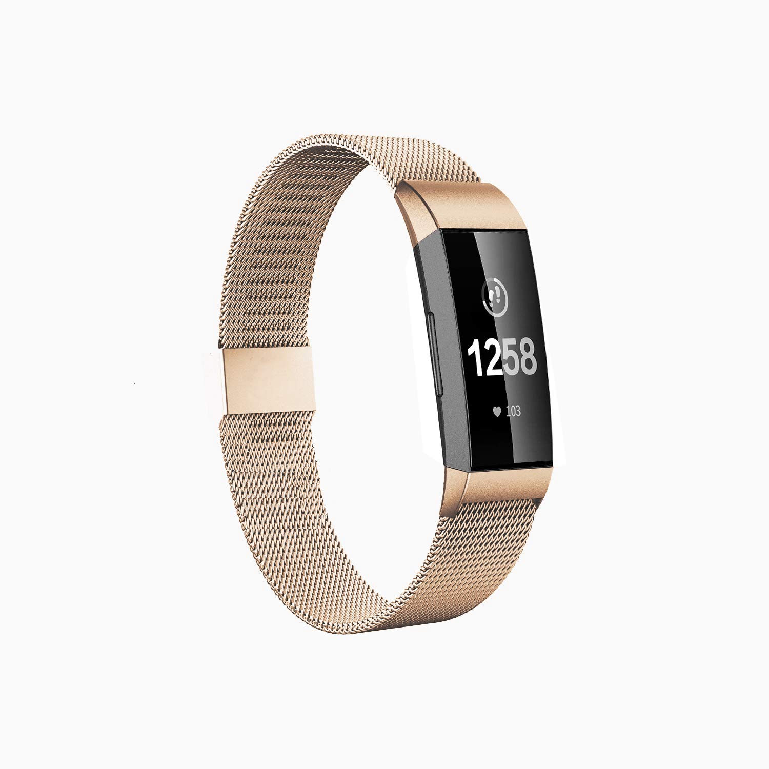 Fitlink Stainless Steel Bands Replacement for Charge 3 and Charge 3 SE for Women Men,Multi Color Multi Size (Champagne Gold, Small(5.5''-8.5''))
