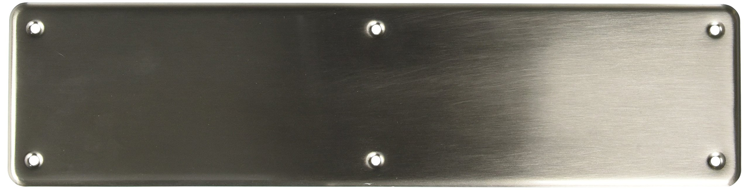 Baldwin 2115 4 Inch x 16 Inch Solid Brass Round Corner Push Plate, Satin Nickel by Baldwin