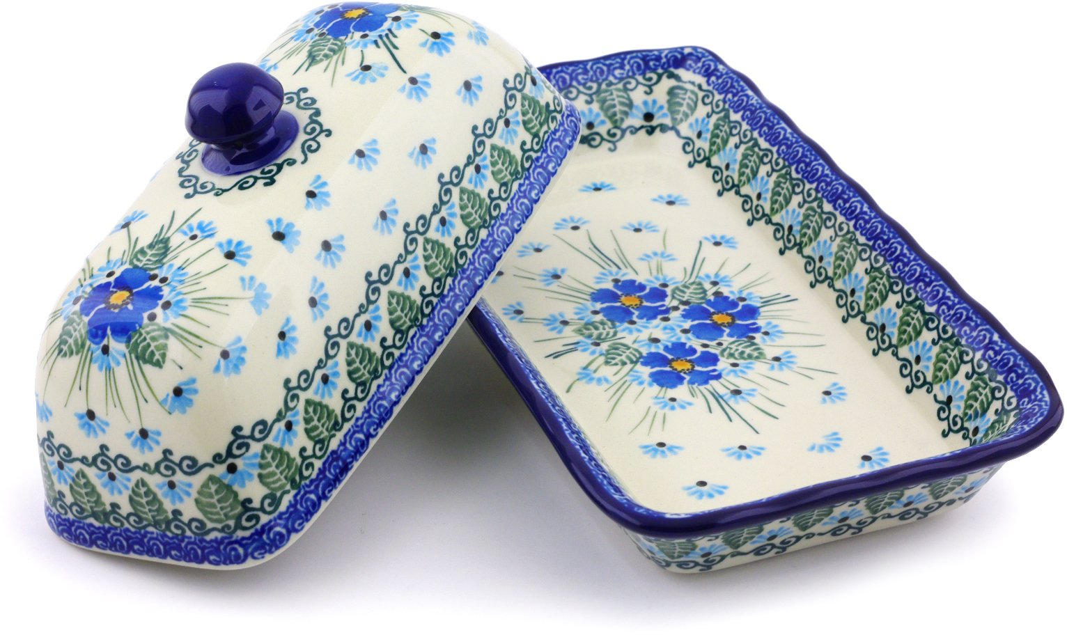 Polish Pottery Butter Dish 9-inch made by Ceramika Artystyczna (Forget Me Not Theme)