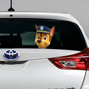 Paw patrol chase peeking on board decal window sticker car bumper gift