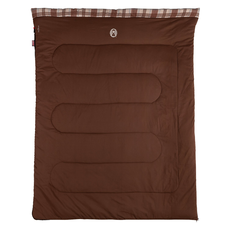 Coleman Sleeping Bag Hampton Double Rectangular Indoor Outdoor 3 Season Extra Long Warm Filling For 2 Adults 220 X 150 Cm
