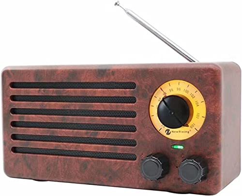 YSEECHENS Retro Desktop FM Radio and Portable Stereo Bluetooth Speakers with Enhanced Bass Resonator, FM Radio, Built-in Mic, 3.5 mm Audio Jack, Support TF Card Micro SD Card and USB Input