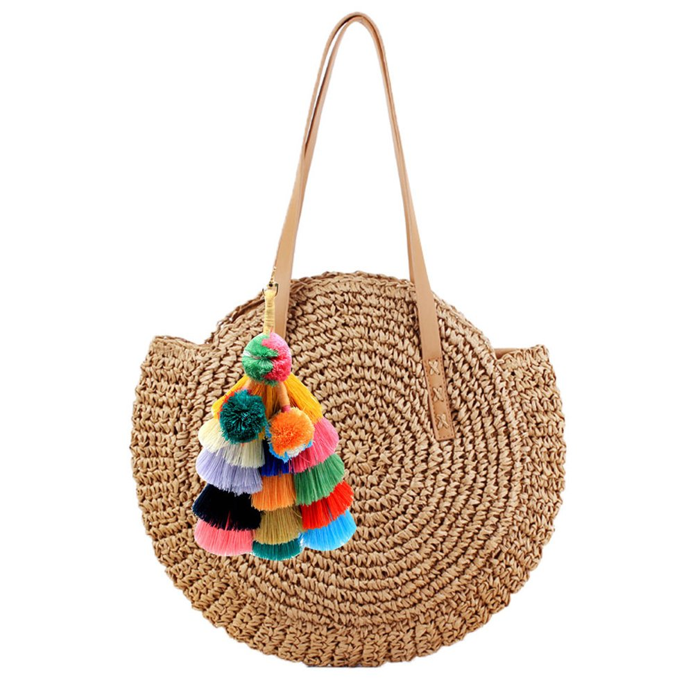 Donalworld Women Round Straw Pompom Shoulder Bag Corn Summer Woven Bags Coffee