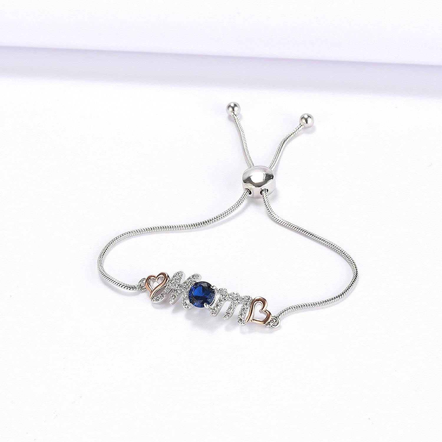 Perfect Valentines Jewelry Gift for Mom Caperci Sterling Silver Blue Sapphire Heart Mom Bolo Bracelet