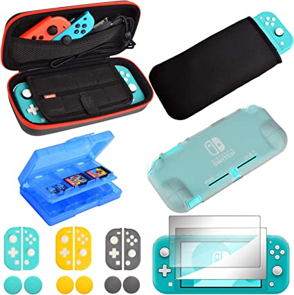 Kit de accesorios para Nintendo Switch Lite, funda de transporte suave de TPU cubierta de vidrio templado protector de pantalla de silicona para Nintendo Switch Lite: Amazon.es: Videojuegos