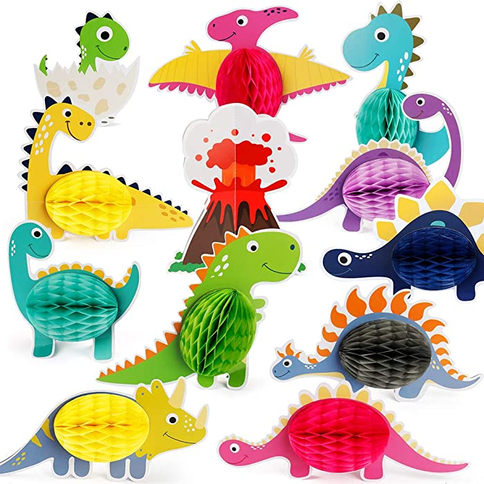 Mocoosy 12 PCS Dinosaur Party Honeycomb Centerpieces for Table Decorations , Little Dino Center Piece Table Topper for Kids Dinosaur Theme Birthday Party Baby Shower Decorations