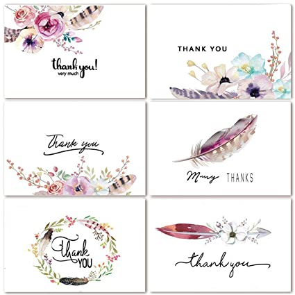 Amazon 48 assorted bulk pack floral thank you cards greeting 48 assorted bulk pack floral thank you cards greeting cards boho spirit 4 x 6 m4hsunfo