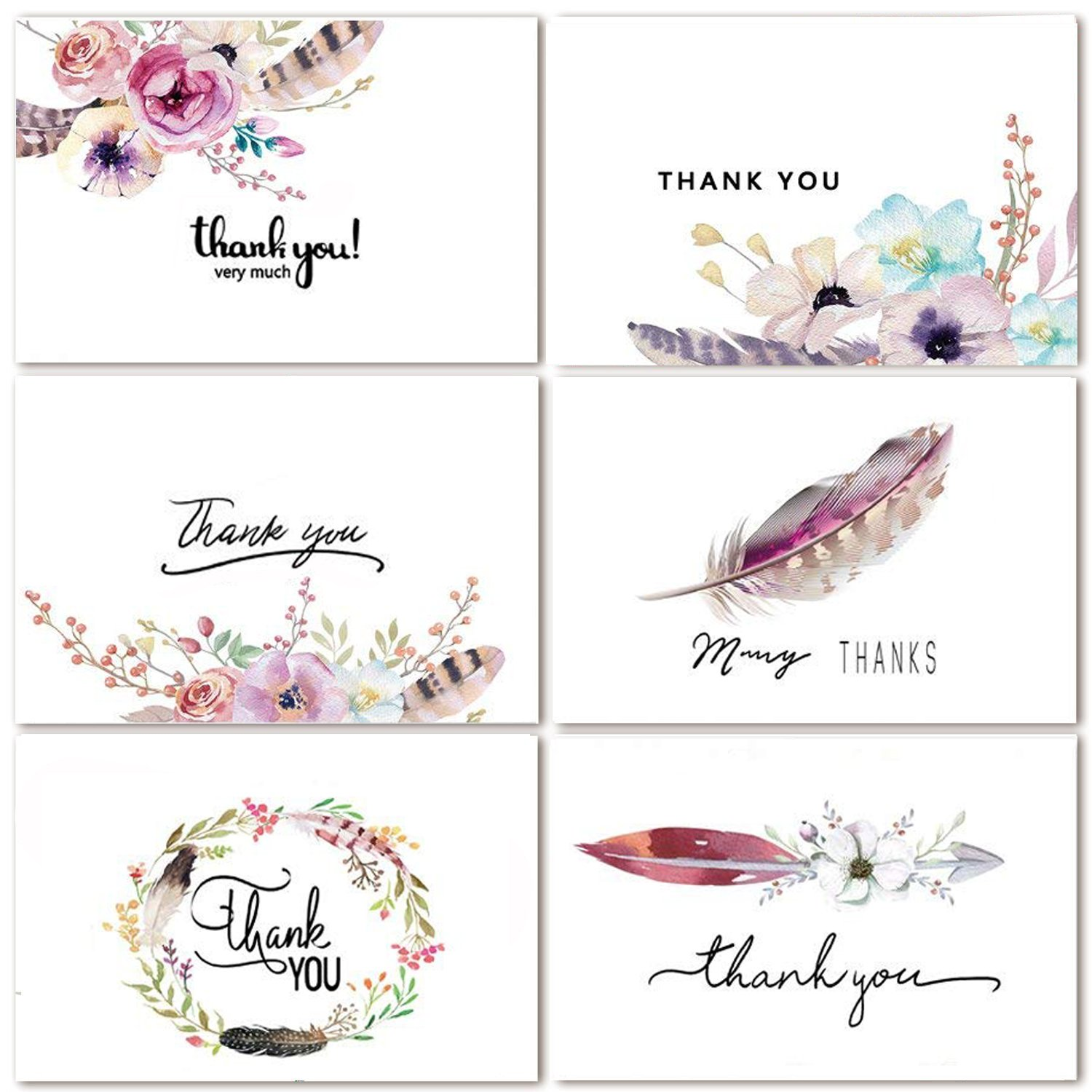 48 Assorted Bulk Pack Floral Thank You Cards Greeting Cards Boho