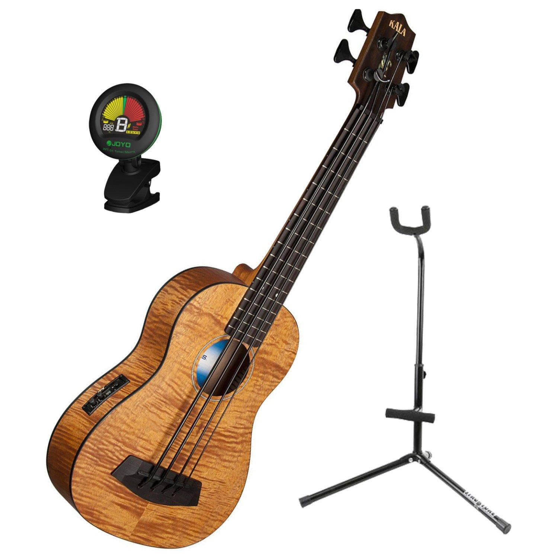 Kala U BASS EM FS Exotic Mahogany U Bass Short-scale Acoustic-Electric Bass Ukulele with Tuner and Ukulele Stand U BASS EM FS BUNDLE