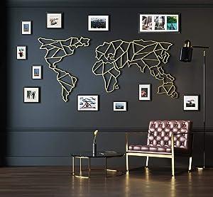 "Tubibu Modern Wall Art, 100% Metal - Metalic World Map, Size (23.6"" x 47.2"") - Wall Hanging for Living Room, Bedroom, Dorm (Gold)"