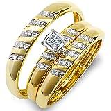 0.15 Carat (ctw) 10K Yellow Gold Round White Diamond Men & Women's Engagement Ring Trio Set
