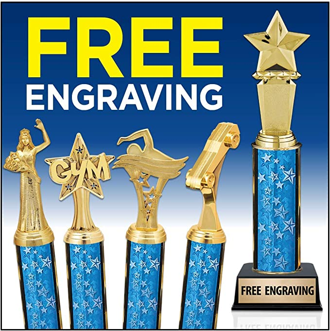 11 Blue Stars Music Note Trophy Award Music Trophies Free Engraving Prime