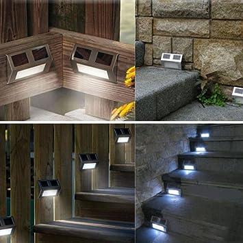 unho Solar Escaleras luces de jardín pared Luz LED Valla/Paso Escaleras/Camino/cubierta/Yard lámpara: Amazon.es: Electrónica