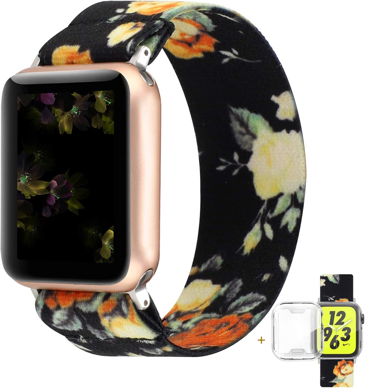 YOSWAN Compatible with Apple Watch Band 42mm 44mm Elastic Soft Nylon Solo Loop Starp Scrunchy Wristband, Women Men Cute Comfy Athletic Stretchy Bracelet Replacement Loop for iWatch SE Series 6 5 4 3 2 1 (Black Peony, 42mm/44mm L Size)