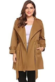 ae23cadc177 Involand Womens Plus Size Light Weight Hooded Trench Coat Jacket with Belt