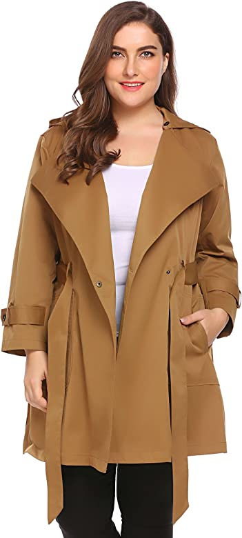e50fb470c Womens Plus Size Light Weight Hooded Trench Coat Jacket with Belt