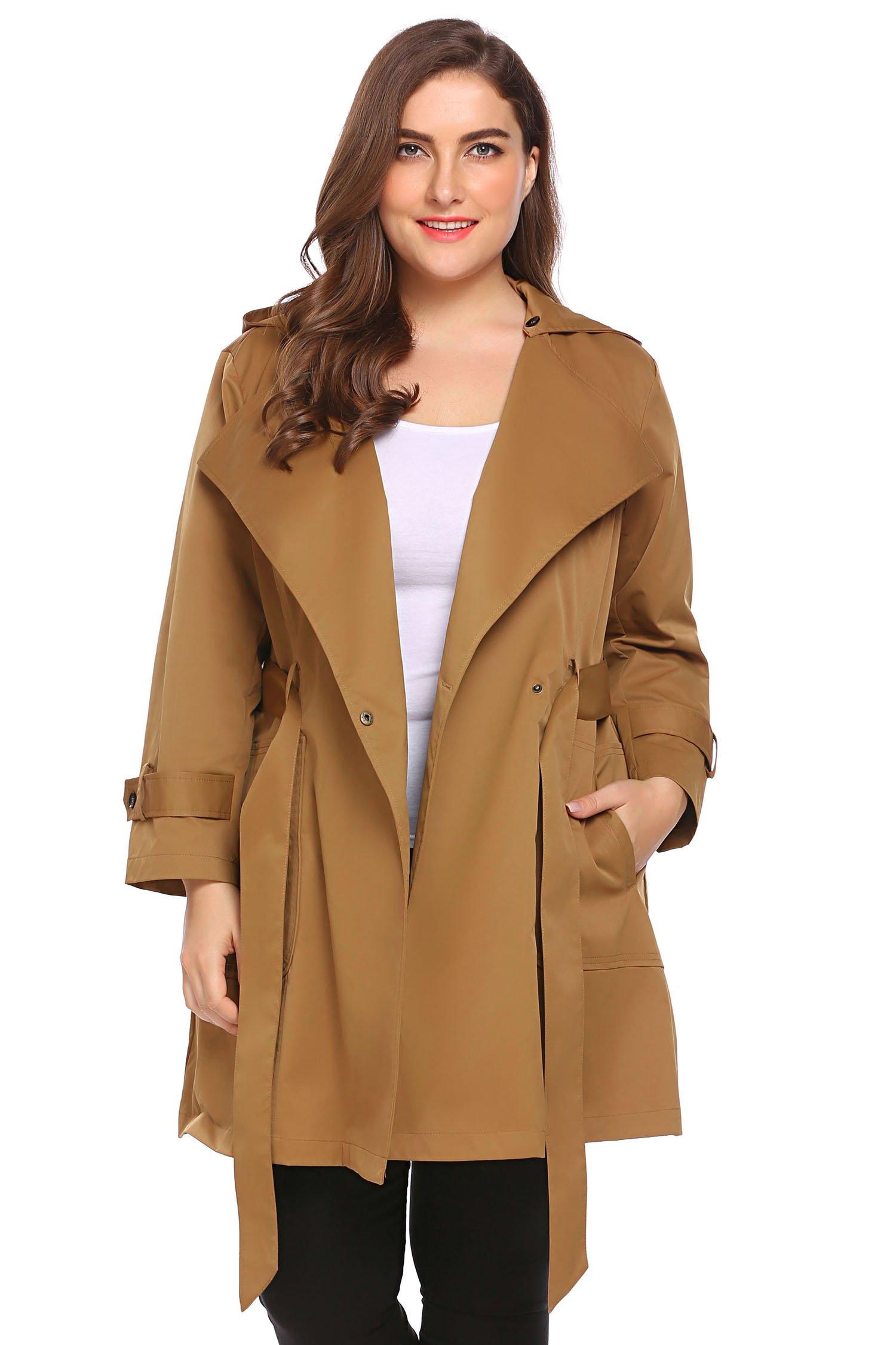 Involand Womens Plus Size Double-Breasted Hooded Trench Coat Jacket with Belt, Orange Grey, 16 Plus