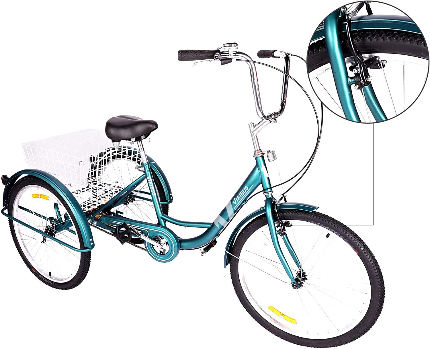 Viribus 7-Speed Adult Tricycle w Adjustable Handlebars and Seat Three-Wheel Mountain Bicycle for Men and Women Complete Beach Cruiser Trike with Basket Lights Bell for Adults