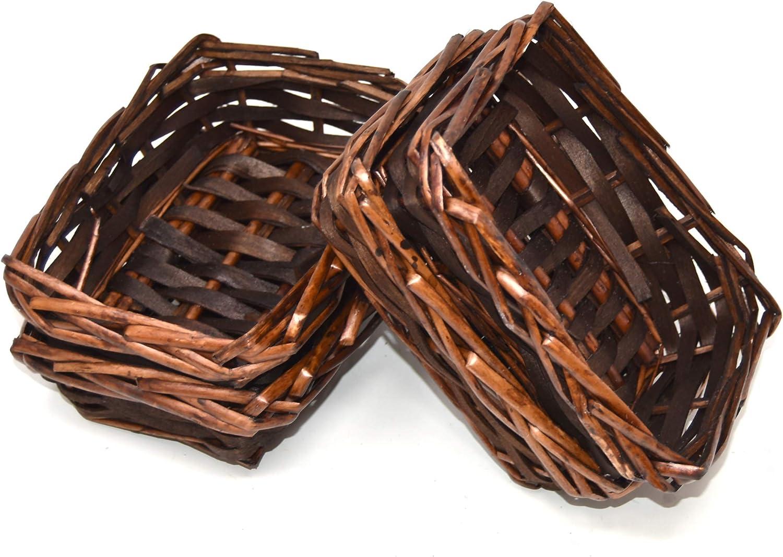 Lashuma - Juego de 4 cestas de mimbre vacías de mimbre, tamaño 15 x 10 cm, cesta de Pascua altura de 5 cm, pequeñas cestas de regalo para envolver