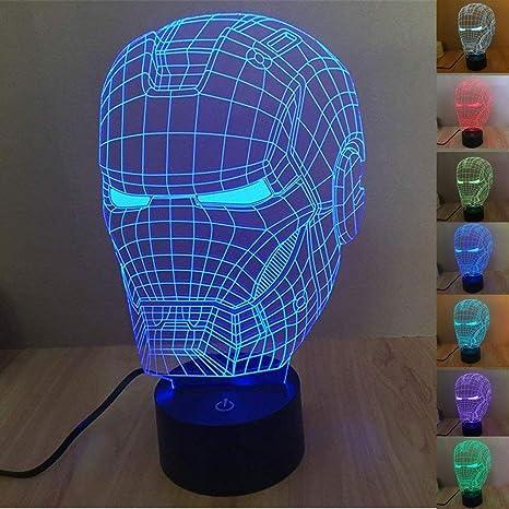 SmartEra® 3D ilusión óptica Iron Man casco noche de 7 colores Cambio de  botón táctil 5d9f225a9c992