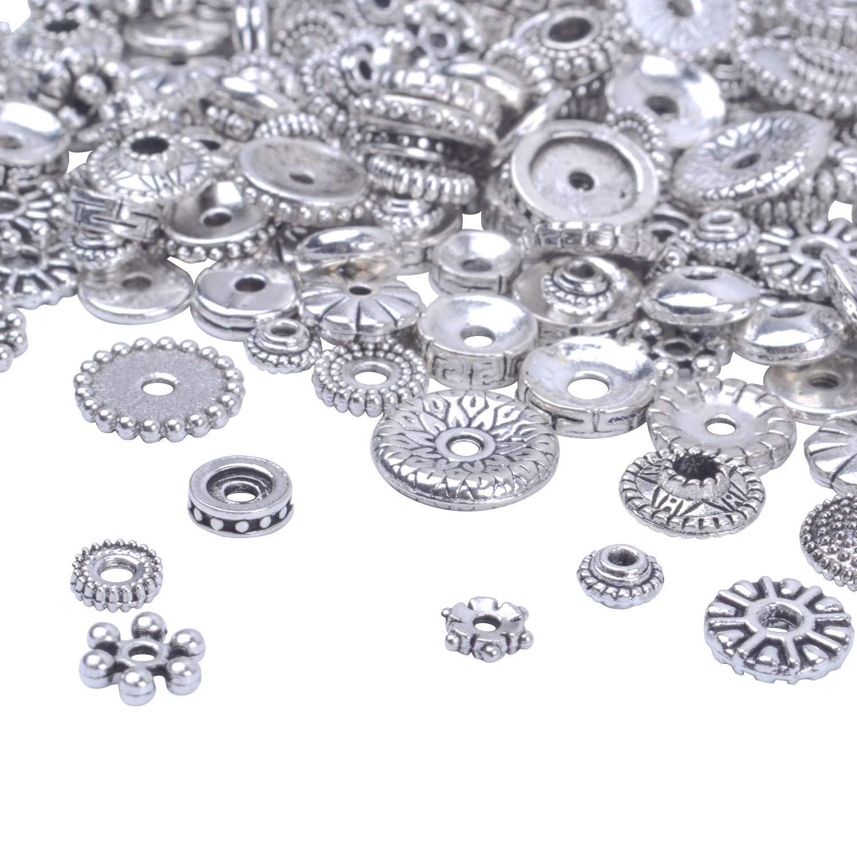 Artesanías collares para pendientes 200 cuentas de metal plata tibetana agujero de 1 2mm