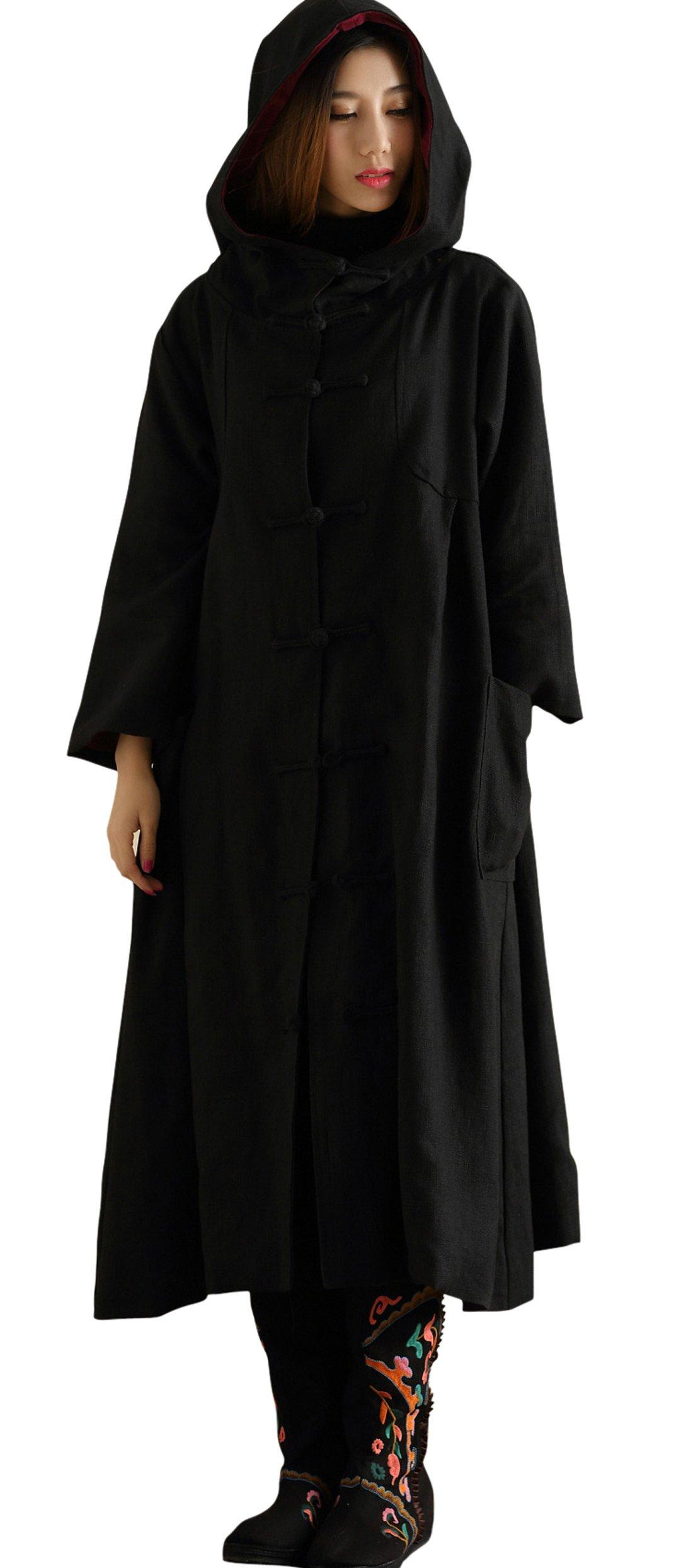 Chouyatou Women's Retro Cotton-Linen Long Hooded Cloaks Coat Costume (One Size, Black)