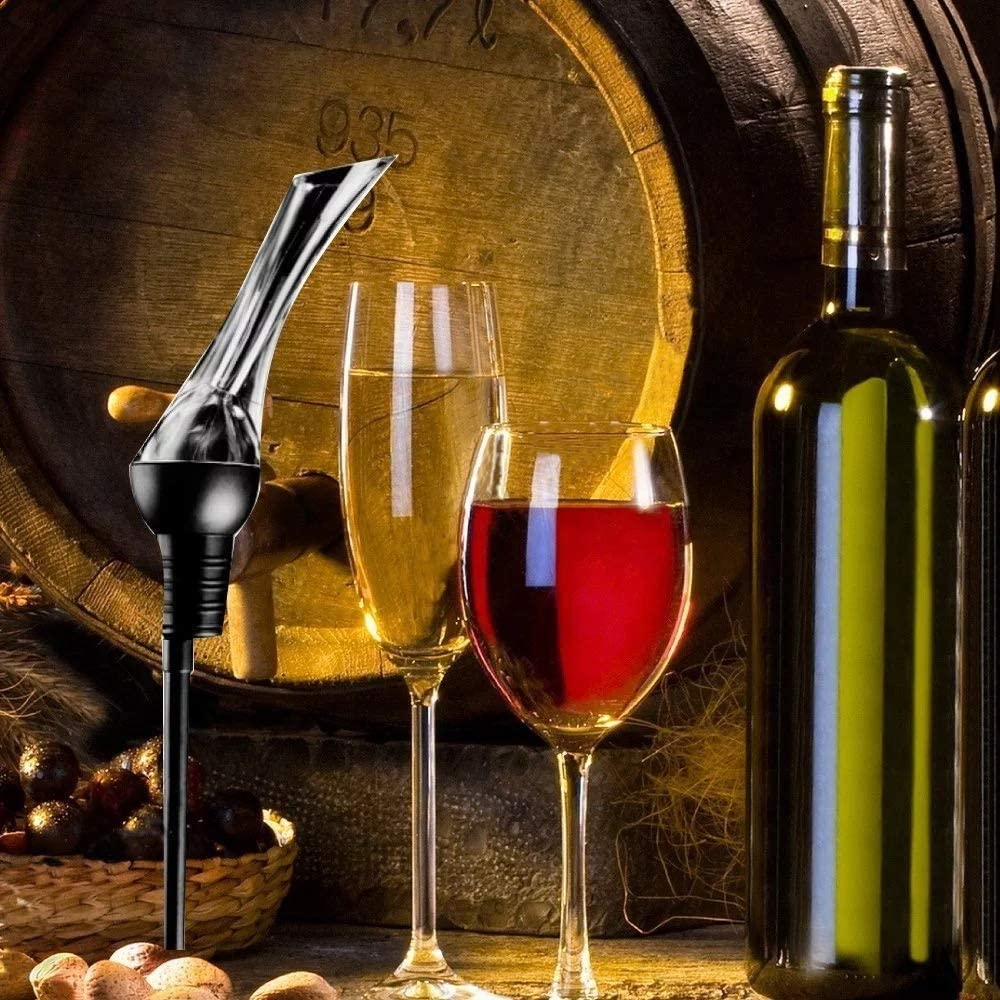 Wine by The Bottle or Glass and Enhances Flavors with Premium High Quality Finish By JM Collection on sale 20/% off for $14.99 only limted Wine Aerator Pourer Premium Essential Red Wine Pourer and Decanter Tower Stand Set Conveniently Aerates and Easily