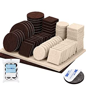 Felt Furniture Pads 138 Pieces Furniture Felt Pads Felt Pads for Furniture Self Adhesive 5mm Thick Anti Scratch Two Colors Pack Brown and Beige Furniture Protector for Wood Hardwood Floor