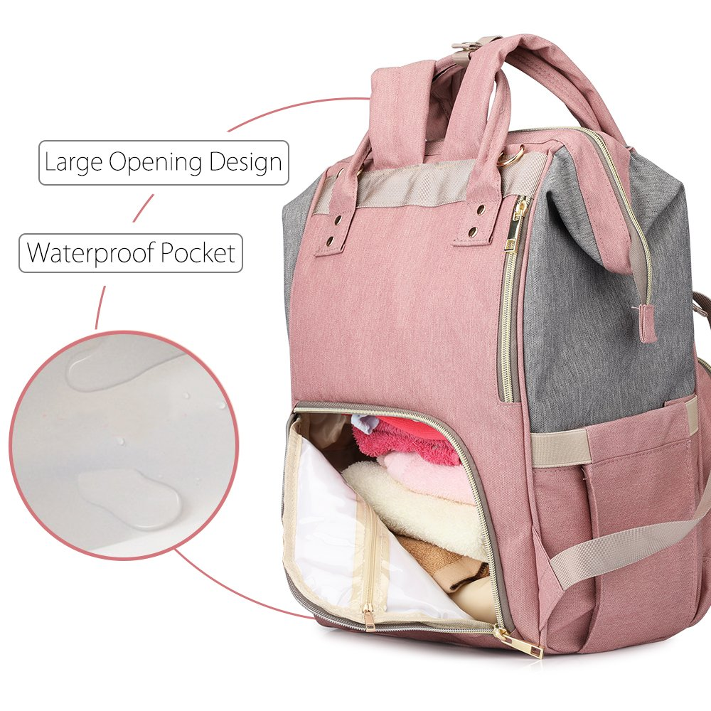 S-Zone Multi-Functional Baby Diaper Backpack Nappy Bag Large Capacity with Stroller Straps and Changing Pad and Insulated Bottle Pocket for Mom and Dad Pink- Grey