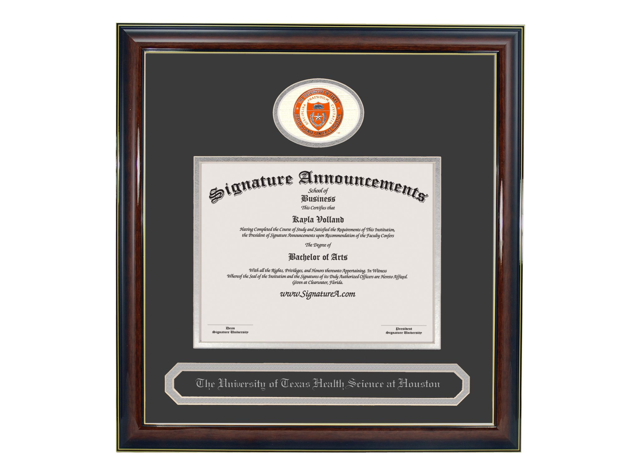 Signature Announcements University-of-Texas-Health-Science-Center-At-Houston Undergraduate, Graduate Sculpted Foil Seal & Name Diploma Frame, 20'' x 20'', Gloss Mahogany with Gold Accent