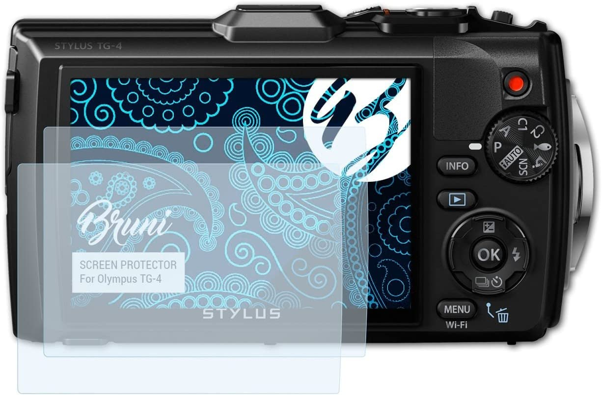 Cristal Clair /Écran Protecteur 2X Bruni Protecteur d/écran pour Olympus TG-5 Film Protecteur