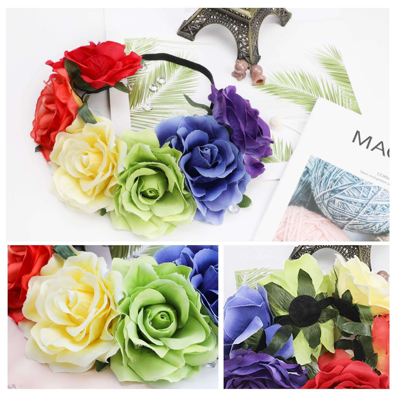 Hifot Rainbow Flower Headband Hawaiian Floral Crown Garland Bridal Wedding Party LGBT Pride Party Favors Supplies Accessories Photography Headpiece