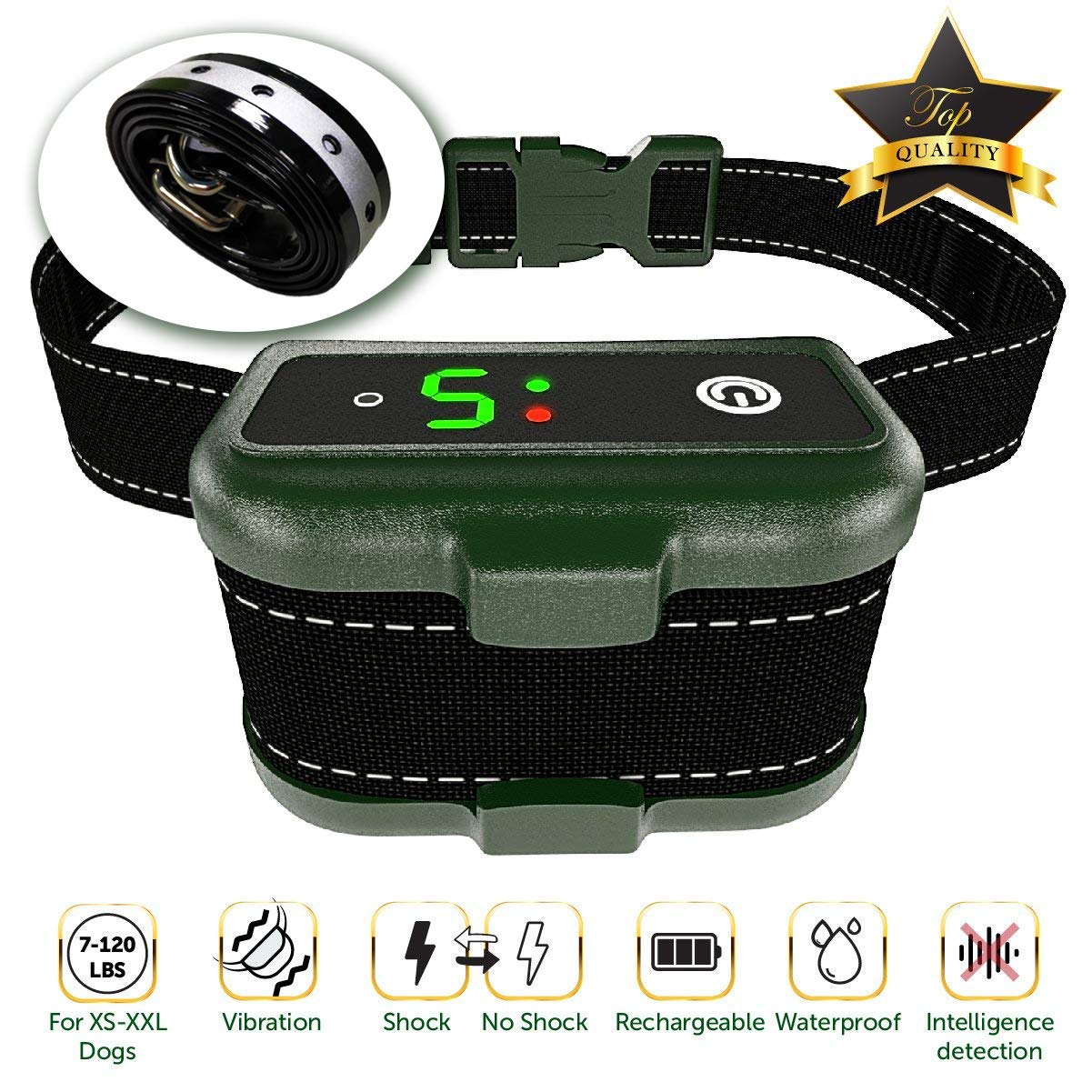 [Newest 2019] Rechargeable Bark Collar - Upgraded Smart Detection Module w/Triple Stop Anti Barking Modes: Beep/Vibration/Shock for Small, Medium, Large Dogs All Breeds - IPx7 Waterproof