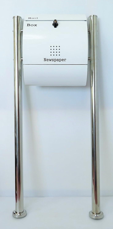 郵便ポスト郵便受けメールボックス大型メール便スタンド型ホワイト白色プレミアムステンレスポストpm033s B018NNRRHY 21880