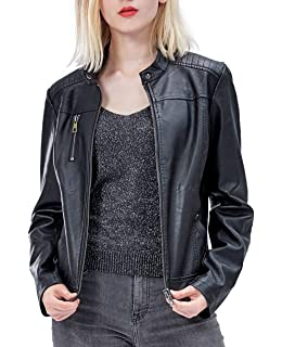 e4bd49c98985 Fahsyee Women s Faux Leather Jackets