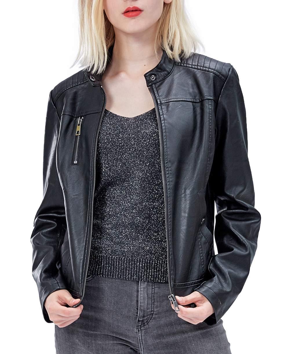 Fahsyee Women's Faux Leather Jackets, Zip Up Motorcycle Short PU Moto Biker Outwear Fitted Slim Coat Black Size L by Fahsyee