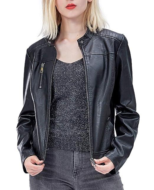 Amazon.com: Fahsyee - Chaqueta de piel sintética para mujer ...