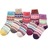 Macochoi Women's Vintage Style Wool Cashmere Thick Warm Socks(5 Pairs)
