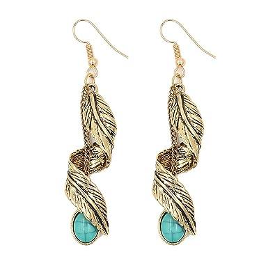 Dangle Earring Clip on Screw Back Feather Vintage Long Tassel Large Drop for Women Fashion Jewelry Blue HV6I4b