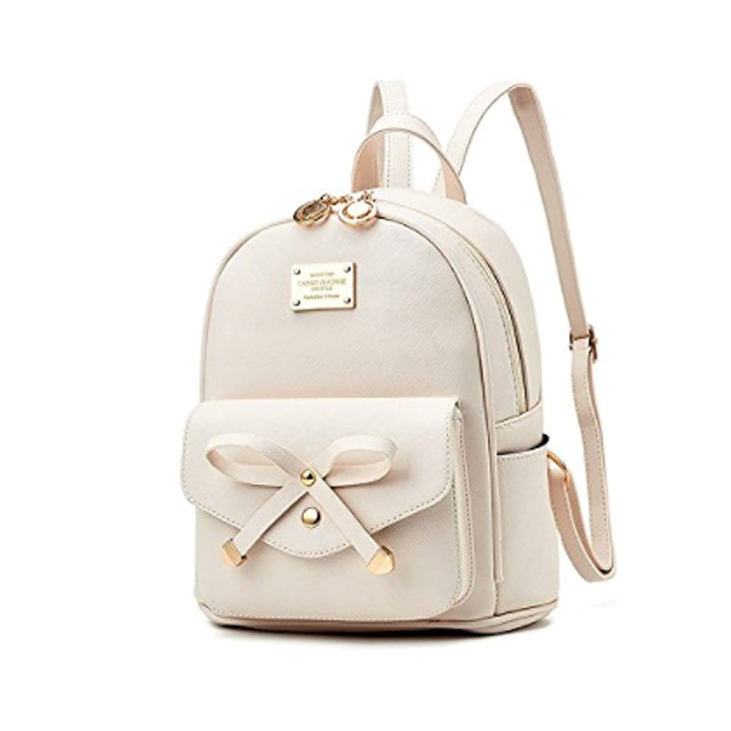 Amazon.com  Women Fashion Bowknot Cute Leather Backpack Mini Backpack Purse  for Girls Beige  Shoes e7a9e897cdc8f