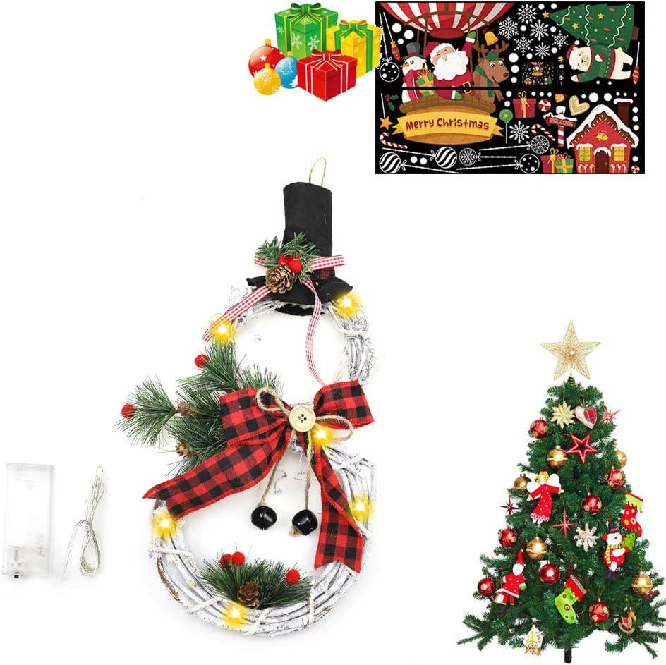 Antrixer Christmas Home Decoration Wreath Pendant LED Wreath Door Hangings Wreath Pendant Snowman LED Christmas Decoration Door Hangings Wreath Snowman for Home Window Wall Black Red